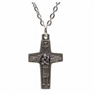 Pendenti croce metallo: Collana croce Papa Francesco metallo 3x1,6