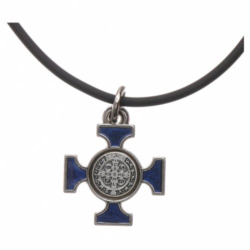 Collana croce San benedetto celtica blu 2x2 s4