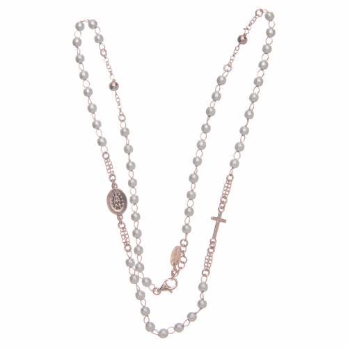 Collana ros girocollo AMEN pavè perle arg 925 Rosè s3
