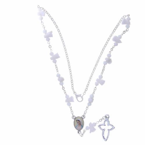 Collana rosario Medjugorje rose bianche ceramica icona Madonna s4