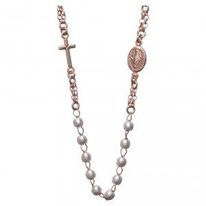 Colgantes, cruces y broches: Collar rosario AMEN perlas plata 925 rosado