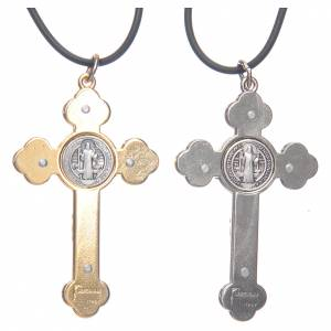 Pendentifs croix métal: Collier croix gotique St Benoit rose 6x3