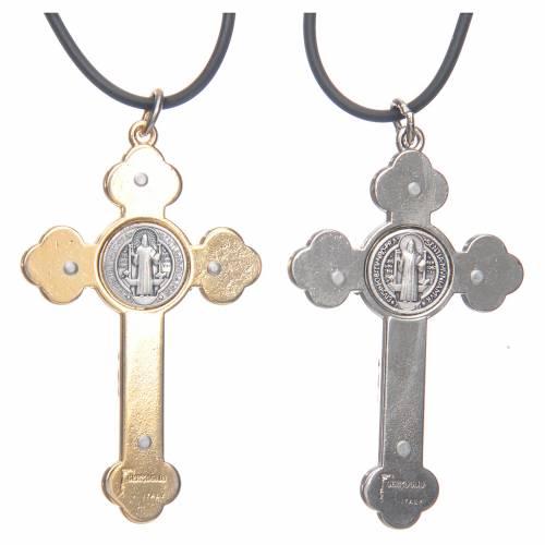 Collier croix gotique St Benoit rose 6x3 s2