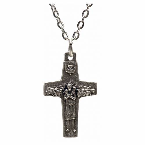 Collier croix Pape François métal 3x1,6 cm s1