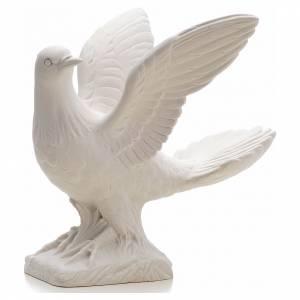 Statue in polvere di marmo di Carrara: Colomba ali aperte 25 cm marmo