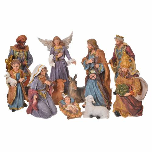Complete nativity set in multicoloured resin, 11 figurines 27cm s1