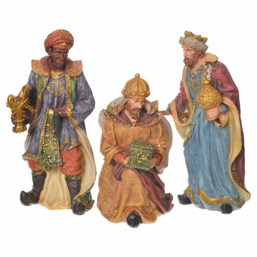 Complete nativity set in multicoloured resin, 11 figurines 27cm s6