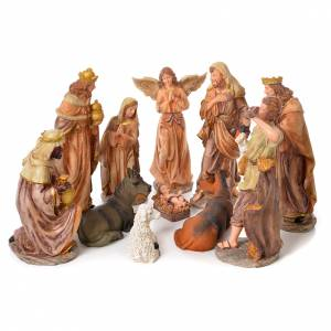 Complete nativity set in natural coloured resin, 11 figurines 31cm s1