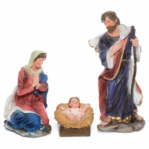 Resin and Fabric nativity scene sets: Complete nativity set in resin measuring 103cm, 12 characters