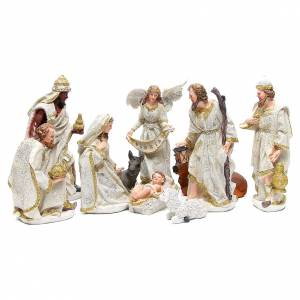 Resin and Fabric nativity scene sets: Complete nativity set in resin measuring 32, 10 characters