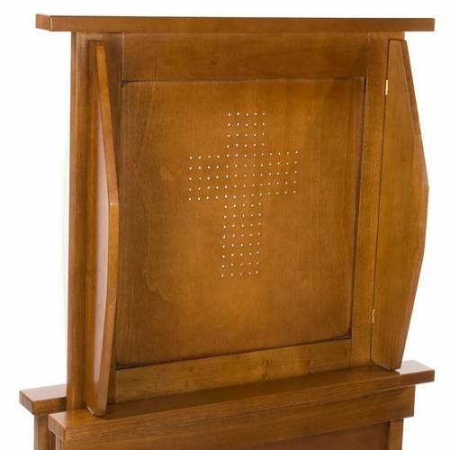 Confesionario reclinatorio de madera de nogal s4