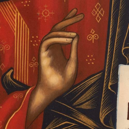 Ícono ruso pintada Pantocrátor libro abierto manto s4