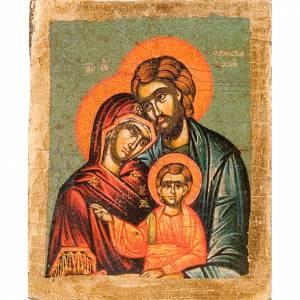 Iconos estampados madera y piedra: Ícono Sagrada Familia serigrafía perfilada