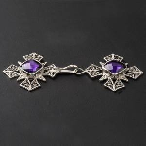 Cope Clasp in silver 800 filigree, cross with Amethyst s3