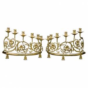 Candelabri: Coppia lumiera 6 bossoli ottone barocca candele legno 15 cm
