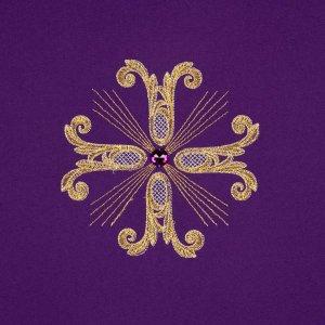 Coprileggio 3 croci dorate perline vetro s5