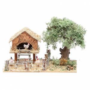 Casas, ambientaciones y tiendas: Corral con gallinas 17x10xh 9 cm