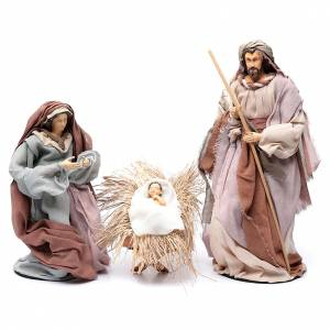 Resin and Fabric nativity scene sets: Country style nativity scene with 6 pieces in resin and gauze 45 cm