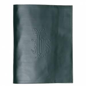 Couvertures pour lectionnaire: Couverture lectionnaire cuir vert inscription imprimée IHS