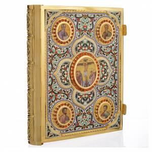 Couvertures pour lectionnaire: Couverture lectionnaire laiton doré avec émaux Christ et Évangélistes