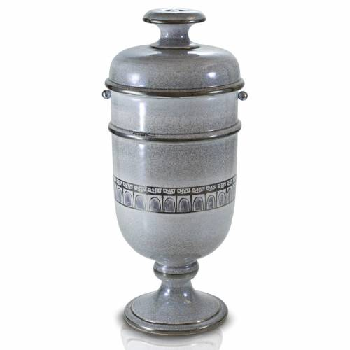 Cremation urn in ceramic, pearl and platinum colour s1
