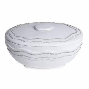 Cremation urn, round, in marble, white with Swarovski s1