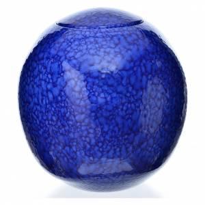 Cremation urn, square in enamelled porcelain, Blue Murano model s1