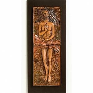 Via Crucis: Cristo risorto 15° stazione maiolica cuoio su legno bruno