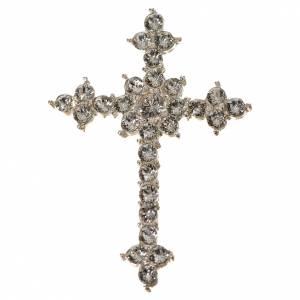 Pendenti, croci, spille, catenelle: Croce Argento 800 e strass 3,5 x 4,5 cm