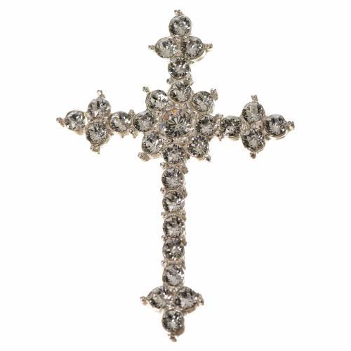 Croce Argento 800 e strass 3,5 x 4,5 cm s1