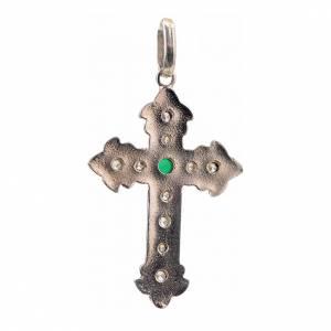 Croce argento 925 con strass e pietra verde s3