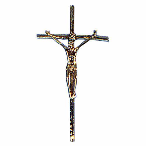 Croce astile ottone fuso oro 48x24 cm s1