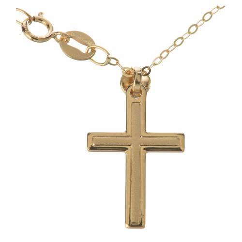 Croce con collana in oro 750/00 - gr. 1,74 s1