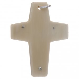Croce corno Cristo argento 925 rodiato bianco s2