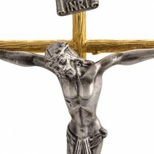 Croci da altare con candelieri: Croce e candelieri 3 fiamme con angeli in bronzo fuso