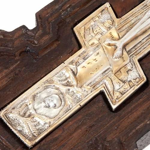 Croce icona ortodossa legno argento s4