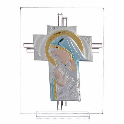 Croce Nascita vetro Murano blu e Argento h. 14,5 cm s1