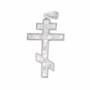 Pendenti, croci, spille, catenelle: Croce ortodossa Arg. 800 filigrana