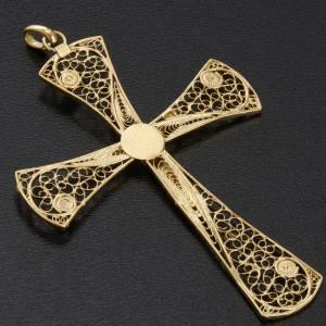 Croce pendente filigrana argento 800 bagno oro - gr. 5,47 s7