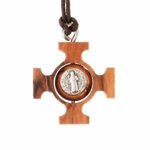 Pendenti croce legno: Pendente croce greca girevole san Benedetto