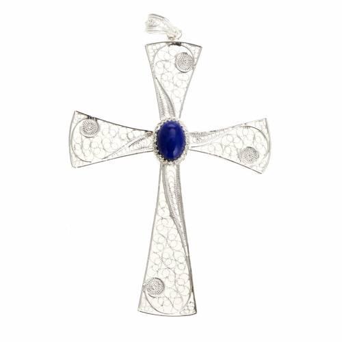 Croce pendente lapislazzuli filigrana arg. 800 - gr. 5,47 s1