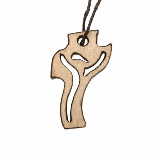 Croce Prima Comunione Risorto legno chiaro 3,6x2 cm s1