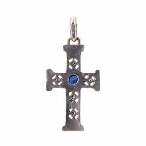 Croce romanica con pietra in argento 925 finitura argentata s3