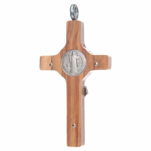 Croce San Benedetto 8x4 cm argento 925 croce olivo con corda s2