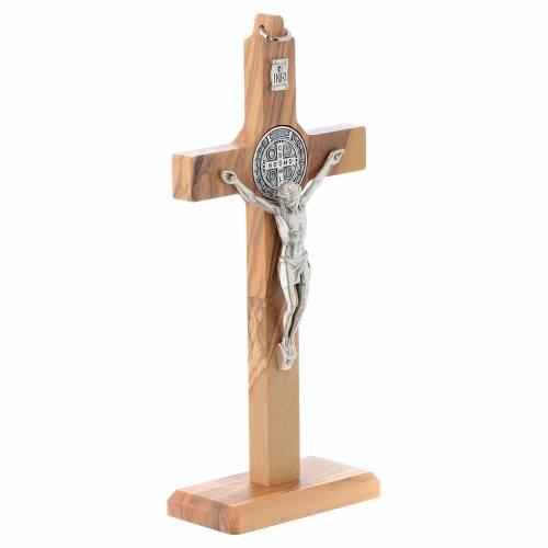Crocifisso San Benedetto olivo da tavolo o appendere s3