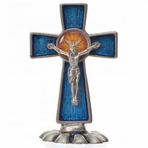 Crocifissi da tavolo: Croce Spirito Santo da tavolo smalto blu zama 5,2x3,5 cm