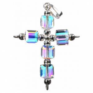 Pendenti, croci, spille, catenelle: Croce Swarovski aurora boreale cubo