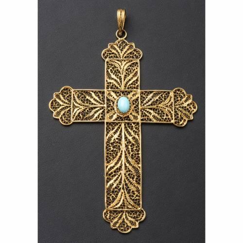 Croce vescovile arg. 800 dorato filigrana e turchese s4