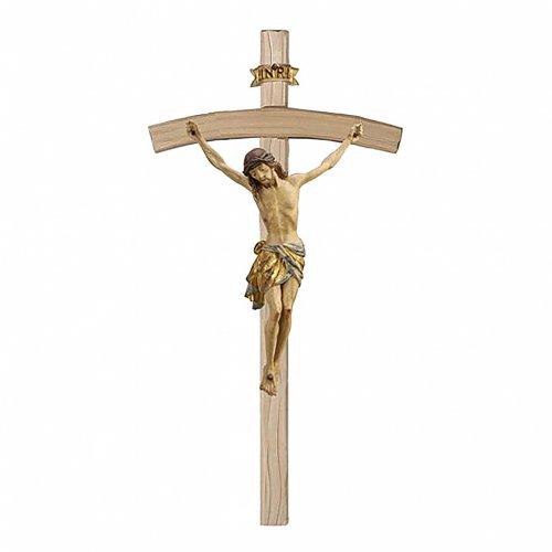 Crocefisso croce curva Cristo Siena manto oro zecchino antico 124 cm s1
