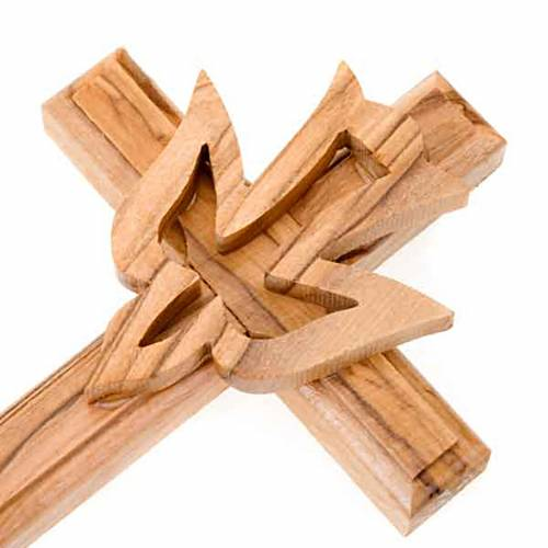Crocifisso legno olivo con colomba s2